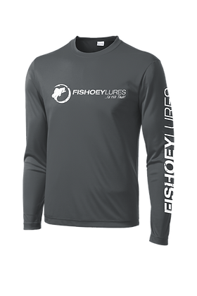 Cooling Performance Dry-Fit - Long Sleeve - Graphite  - Distressed White Logo