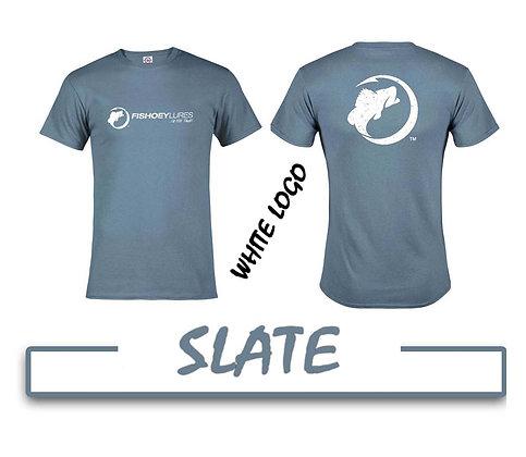 T-Shirt - Slate - White Distressed Logos
