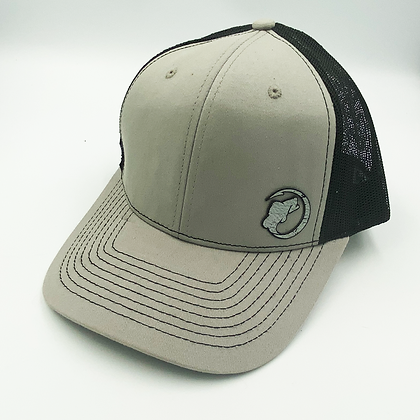 Diamond Gray / Black Trucker Style Cap - Leather Logo