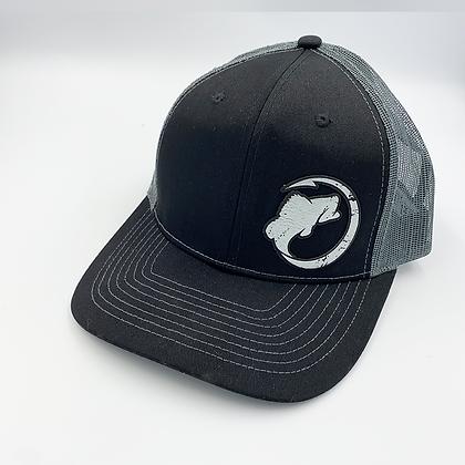 Black / Charcoal Trucker Style Cap - Leather Logo