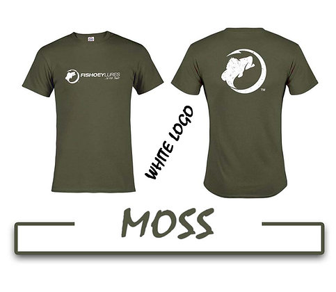 T-Shirt - Moss - White Distressed Logos