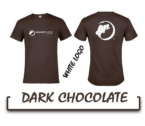 T-Shirt - Dark Chocolate - White Distressed Logos
