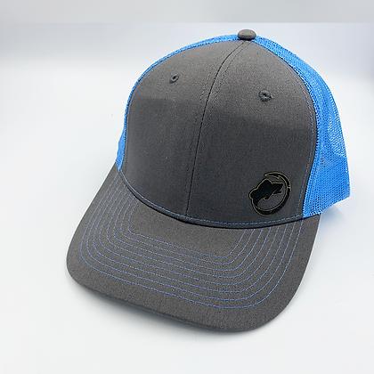 Charcoal / Columbian Blue  Trucker Style Cap - Leather Logo