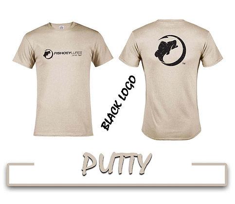 T-Shirt - Putty - Black Distressed Logos