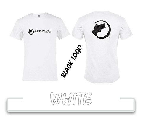 T-Shirt - White - Black Distressed Logos