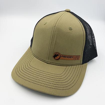 London / Black Trucker Style Cap - Leather Logo