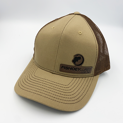 Brown / White Trucker Style Cap - Leather Logo