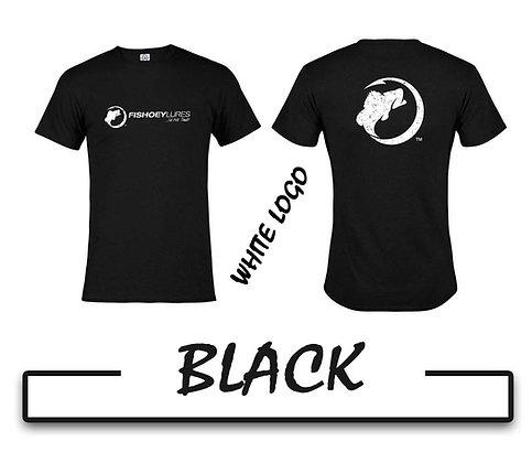 T-Shirt - Black - White Distressed Logos