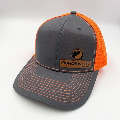 Charcoal / Safety Orange Trucker Style Caps - Leather Logo