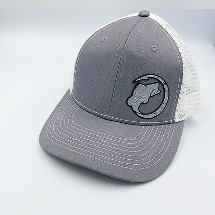 Heather Gray / White Trucker Style Cap - Leather Logo