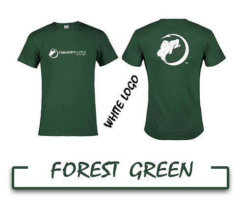 T-Shirt - Forest Green - White Distressed Logos