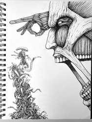 【Drawing】Colossal Titan V.S alien / art / Timelapse
