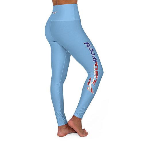 RAMPCHECK USA FLAG LOGO LIGHT BLUE High Waisted Yoga Leggings