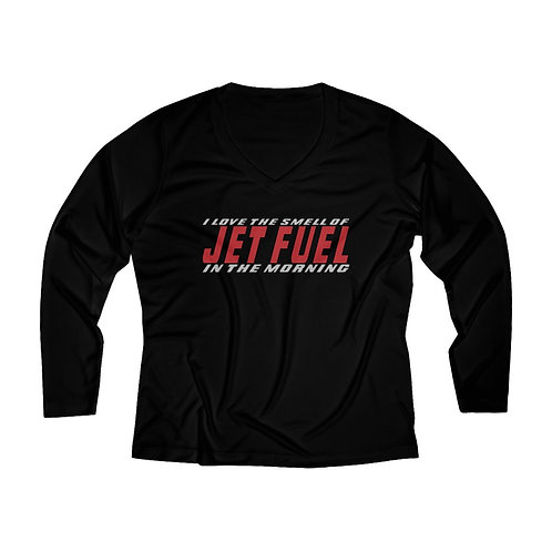 I LOVE THE SMELL OF JET FUEL IN THE MORNING Women's Long Sleeve Perf. V-neck Tee
