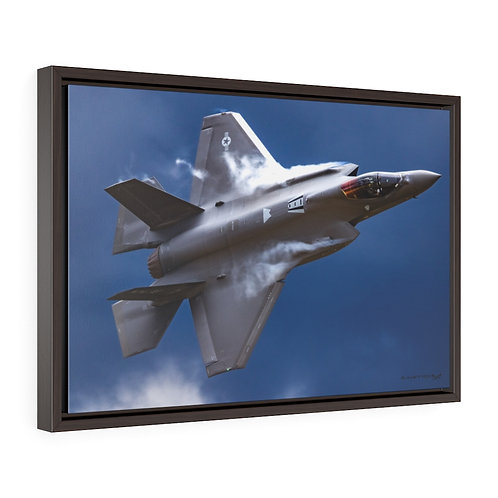 "F-35A LIGHTING II ""FAST"" CLOUDY BLUE SKY Framed Premium Gallery Wrap Canvas"