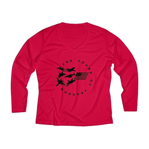 THE SOUND OF FREEDOM USN USMC FIGHTER & ATCK Women's Long Sleeve Perf V-neck Tee