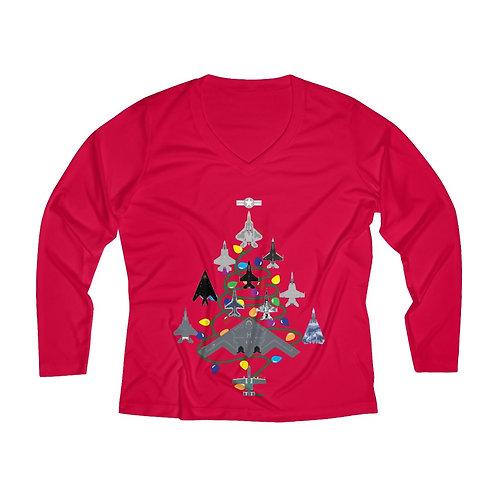 US MILITARY COMBAT AIRCRAFT CHRISTMAS TREE Women's Long Sleeve Perf V-neck Tee