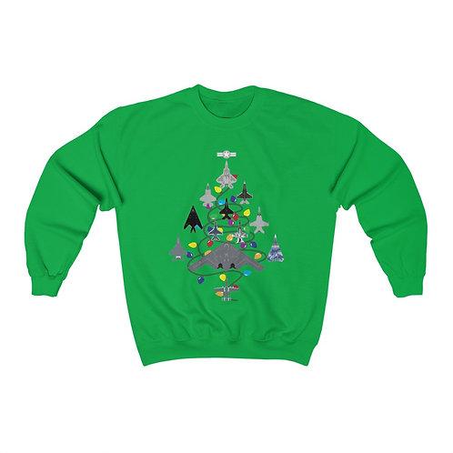 US MILITARY COMBAT AIRCRAFT CHRISTMAS TREE Unisex Crewneck Sweatshirt