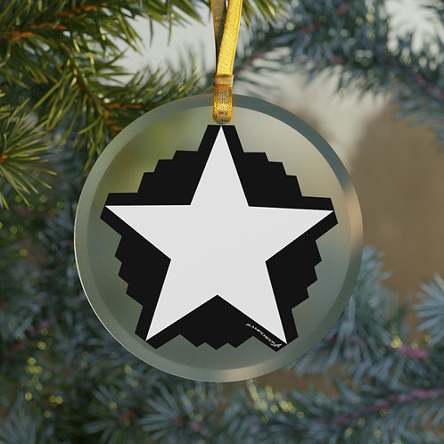 B-2 STAR CHRISTMAS TREE Glass Ornament