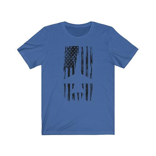 DISTRESSED BLACK PRINT F/A-18 HORNET US FLAG Lightweight T-shirt