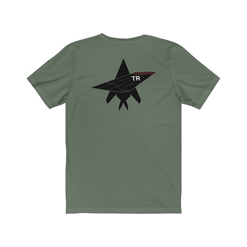 F-117A NIGHTHAWK TR TAIL TOP SILHOUETTE BACK PRINT Unisex Short Sleeve T-Shirt