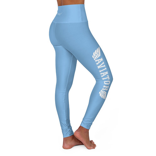 AVIATOR WINGS LIGHT BLUE High Waisted Yoga Leggings