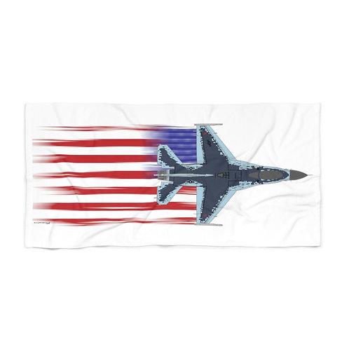 HUGE 3X6 LEFT FACING/VERTICAL F-16 GHOST FULL SEND US FLAG Beach Towel