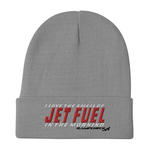 I LOVE THE SMELL OF JET FUEL IN THE MORNING RAMPCHECK Embroidered Beanie