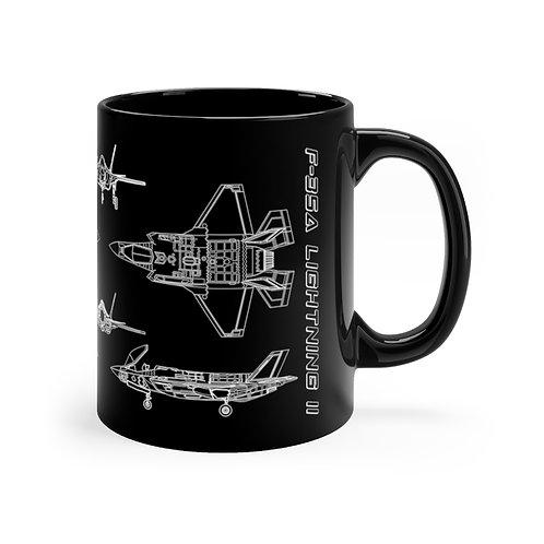 F-35A LIGHTNING II TECHNICAL DRAWING Black mug 11oz