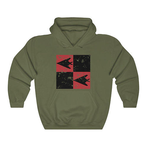 F-117 NIGHTHAWK DISTRESSES PRINT SQUARE CHECKERBOARD Unisex Hoodie