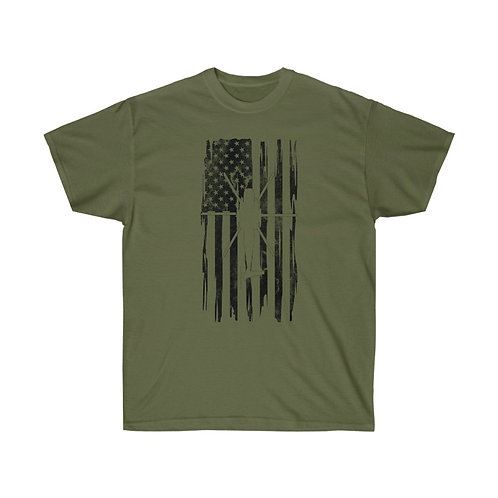 DISTRESSED BLACK PRINT CH-53 US FLAG Heavyweight T-shirt