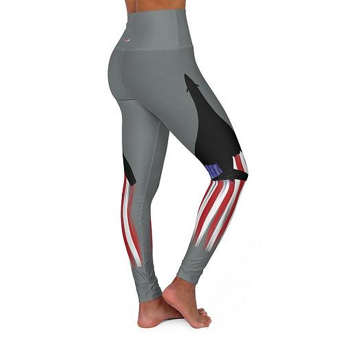B-1B LANCER BLACK SILHOUETTE USA High Waisted Yoga Leggings