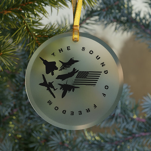 THE SOUND OF FREEDOM USA USAF FIGHTERS & ATTACK CHRISTMAS TREE Glass Ornament