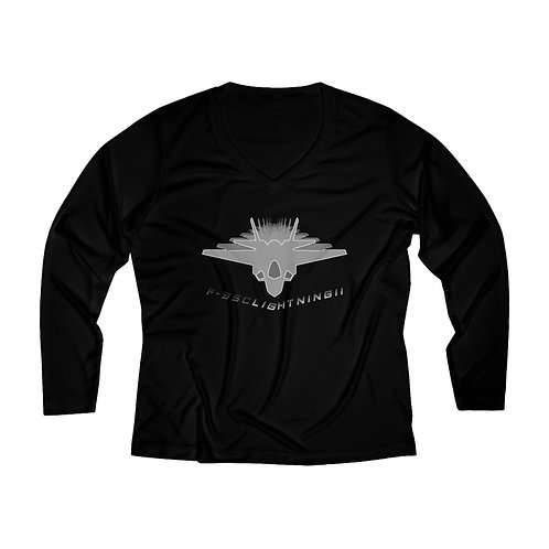 F-35C LIGHTNING II FULL SEND Women's Long Sleeve Performance V-neck Tee