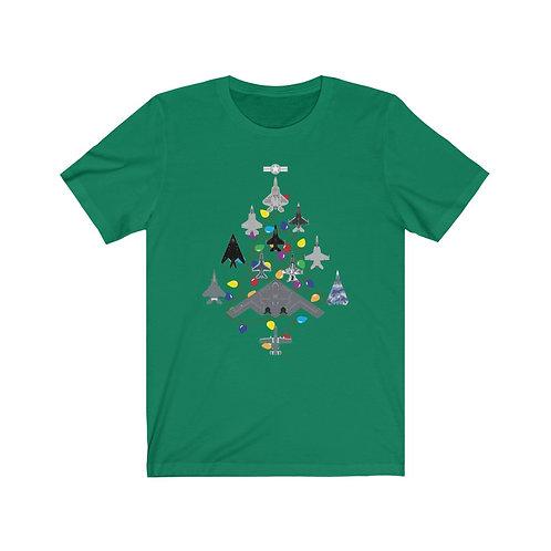 US MILITARY COMBAT AIRCRAFT CHRISTMAS TREE Unisex Short Sleeve T-Shirt