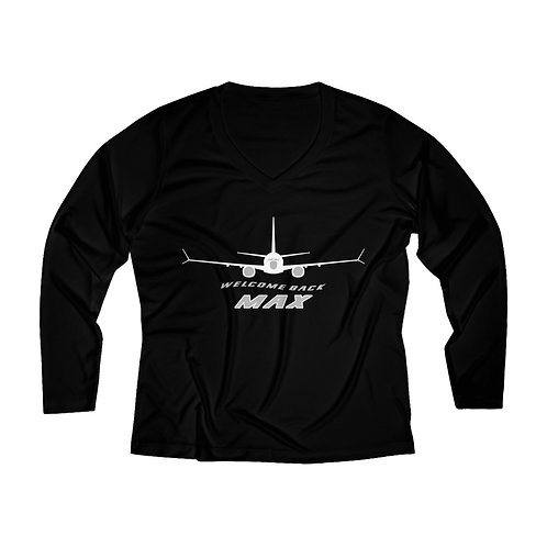 737 MAX WELCOME BACK MAX Women's Long Sleeve Performance V-neck Tee