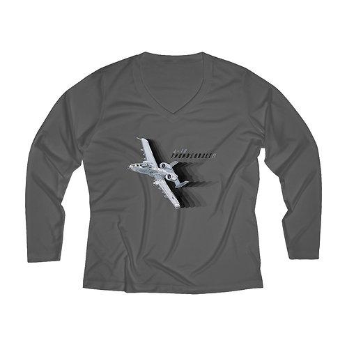 A-10 THUNDERBOLT II FULL SEND Women's Long Sleeve Performance V-neck Tee