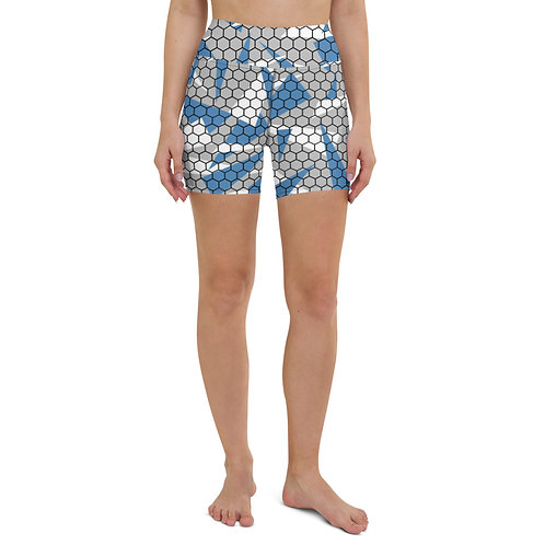 HONEYCOMB SPLINTER GRAY CAMO Yoga Shorts
