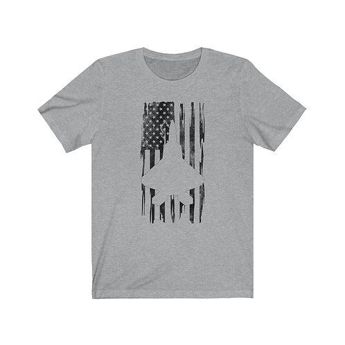 DISTRESSED BLACK PRINT F-22 US FLAG Lightweight T-shirt
