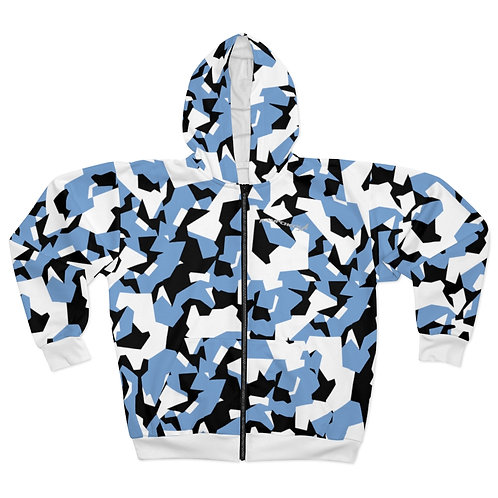 BLACK, BLUE AND WHITE SPLINTER CAMO Unisex Zip Hoodie