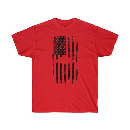 DISTRESSED BLACK PRINT B-2 US FLAG Heavyweight T-shirt