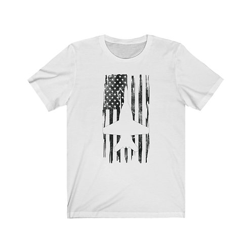 DISTRESSED BLACK PRINT F/A-18 SUPER HORNET US FLAG Lightweight T-shirt