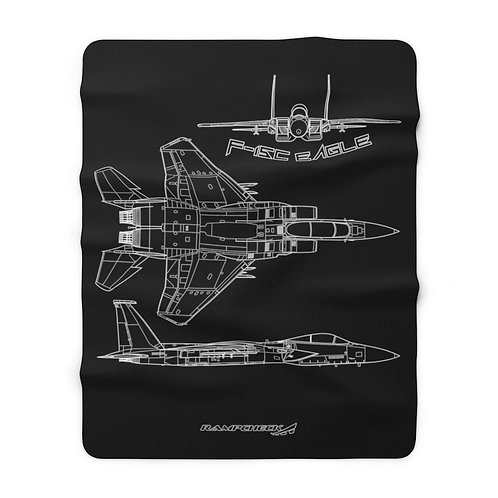F-15C EAGLE 3 VIEW Sherpa Fleece Blanket
