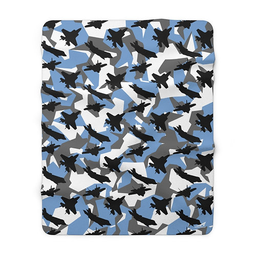 F-35A ARCTIC BLUE SPLINTER CAMO Sherpa Fleece Blanket