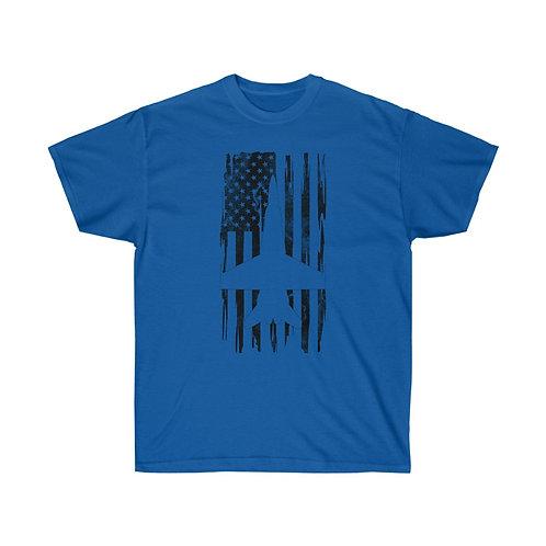 DISTRESSED BLACK PRINT F/A-18 HORNET US FLAG Heavyweight T-shirt