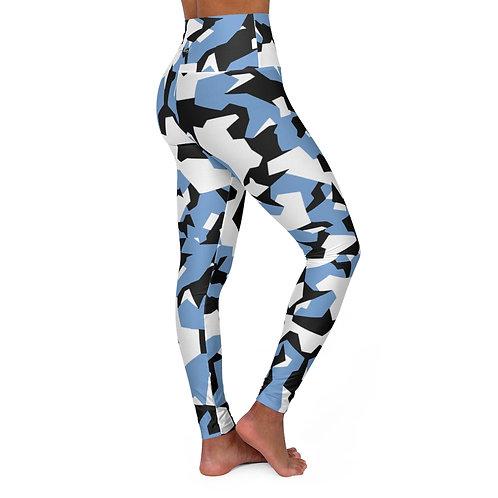BLACK, BLUE AND WHITE SPLINTER CAMO High Waisted Yoga Leggings