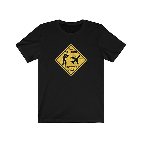 CAUTION SPOTTER XING WEATHERED SIGN Unisex Short Sleeve T-Shirt