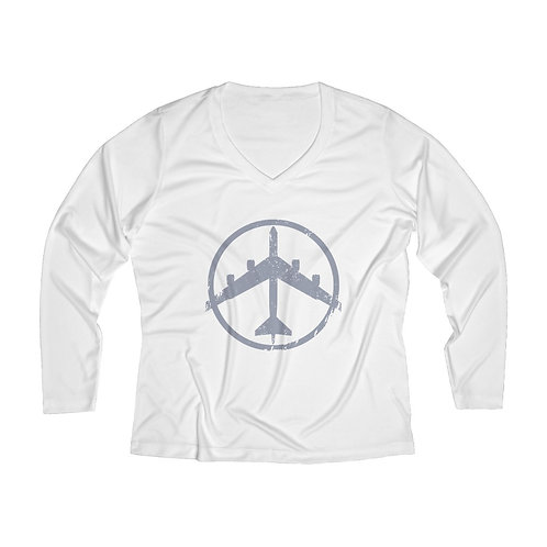 B-52 PEACE THROUGH STRENGTH Women's Long Sleeve Performance V-neck Tee