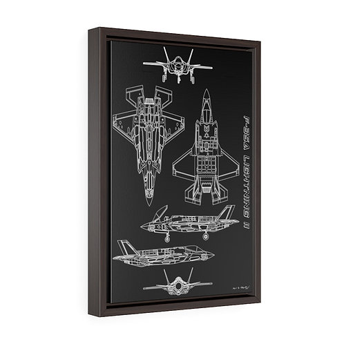 F-35A LIGHTNING II TECHNICAL DRAWING Vertical Framed Premium Gallery Wrap Canvas