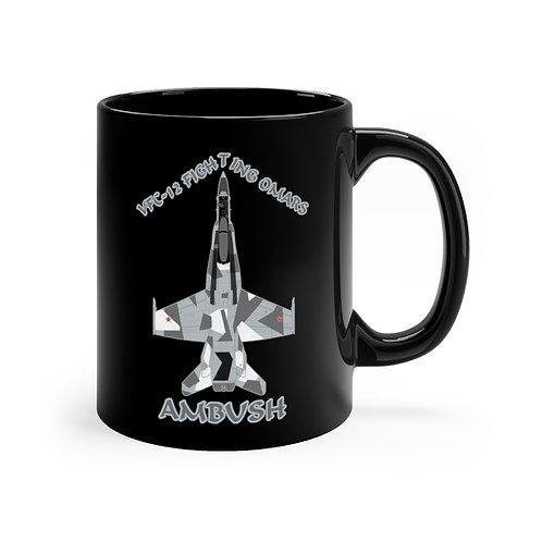 F/A-18A HORNET VFC-12 FIGHTING OMARS AMBUSH SPLINTER Black mug 11oz